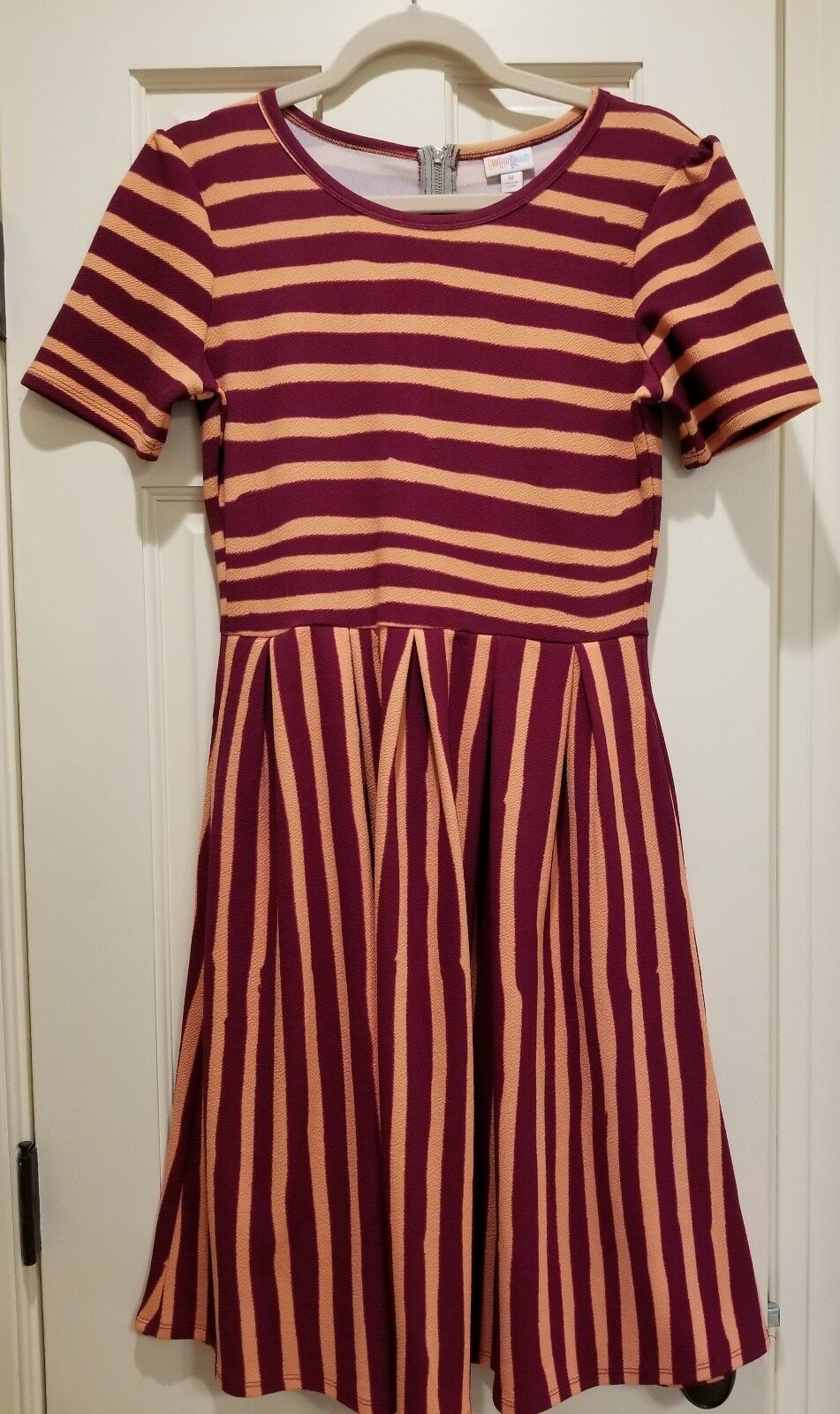 Lularoe Amelia, Burgundy And Peach Stripes Dress, Medium, Brand New Without Tags