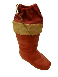 VINTAGE-CHRISTMAS-PAPER-MACHE-5-034-SANTA-BOOT-CANDY-CONTAINER-GERMANY