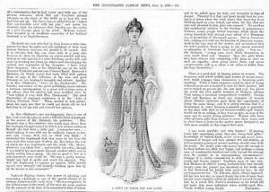 1899-Antique-Print-FASHION-COSTUME-Gown-White-Net-Satin-Choker-181