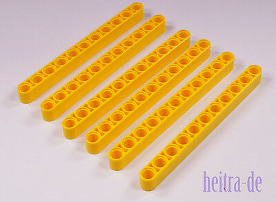 Lego Technik - 6 X Liftarm Dick 1x11 Gelb / Yellow Liftarm Thick / 32525 Neuware