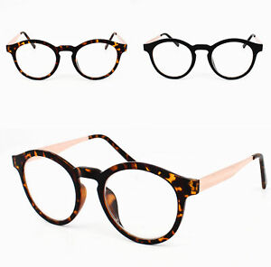 3d9afdf1055 Round Keyhole Frame Metal Arm Vintage Clear Lens Glasses Mens Womens ...