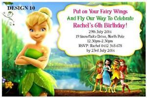 Image Is Loading 1 X DISNEY TINKERBELL GIRLS PERSONALISED BIRTHDAY INVITATIONS