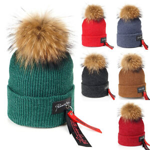 6033b99ffc0 Womens Men Unisex Hip Hop Cap Large Real Fur Pom Pom Beanie Crochet ...