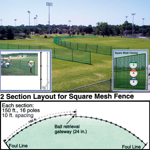 Outfield Fencing 48 H x 150'L Roll - Royal bluee (Fence Only)