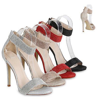 Damen Sandaletten High Heels Strass Glitzer Party Riemchen 820994 Schuhe | eBay