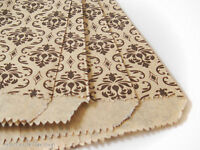 100 Kraft And Black Damask Design, Flat Merchandise Bags 6 X 9 Inches