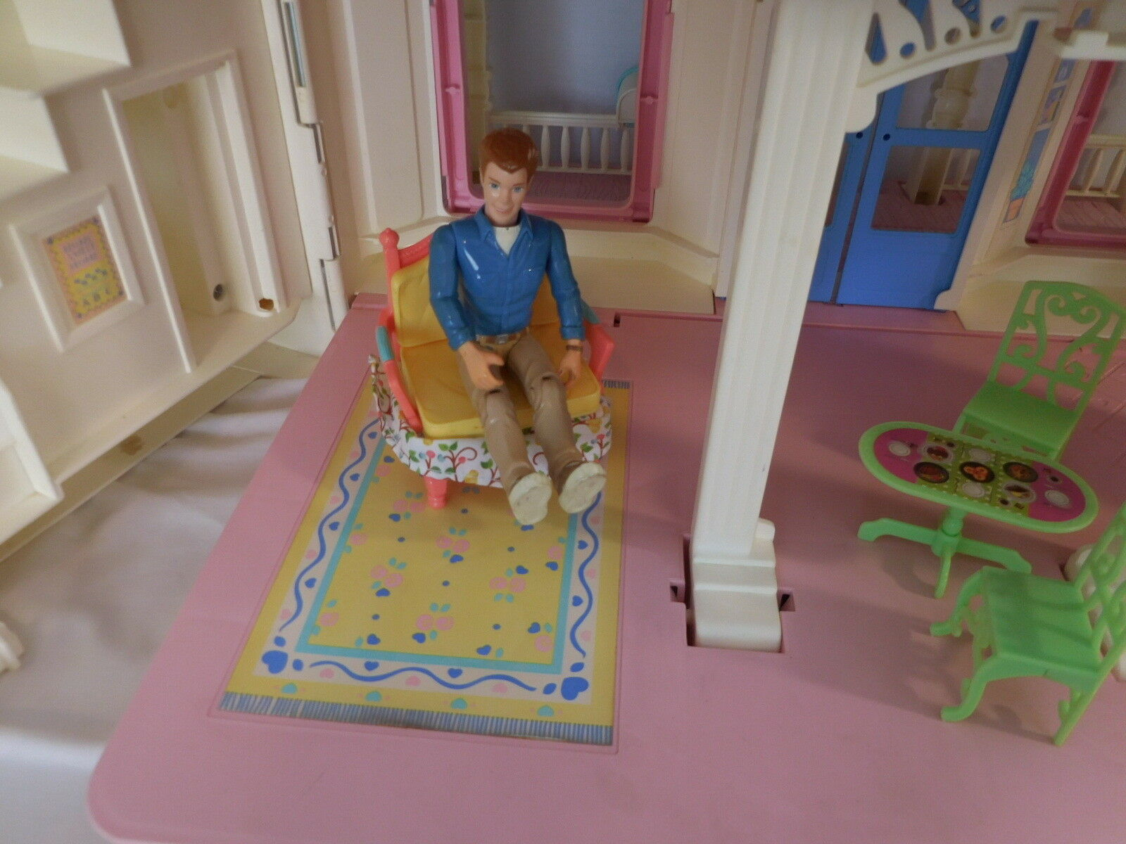 Fisher Price Loving Family Family Family Vintage Foldable Doll House Collapsable + Accessories 5095ce