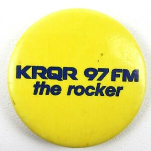 Vintage-KRQR-97-FM-The-Rocker-Pinback-Button