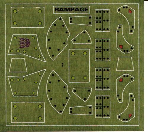 TRANSFORMERS GENERATION 1, G1 DECEPTICON PARTS RAMPAGE REPRO LABELS / STICKER