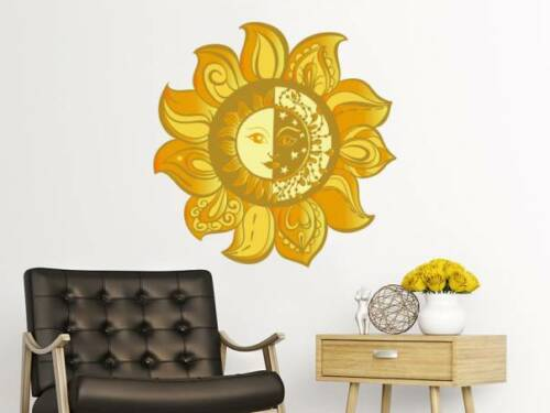 Sun And Moon Wall Decal Full Color Ethical Stars Symbol Sunshine Stickers EN15
