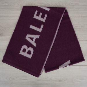 BALENCIAGA-695-Authentic-New-Purple-Wool-Scarf-With-Logo-30cm-x-205cm