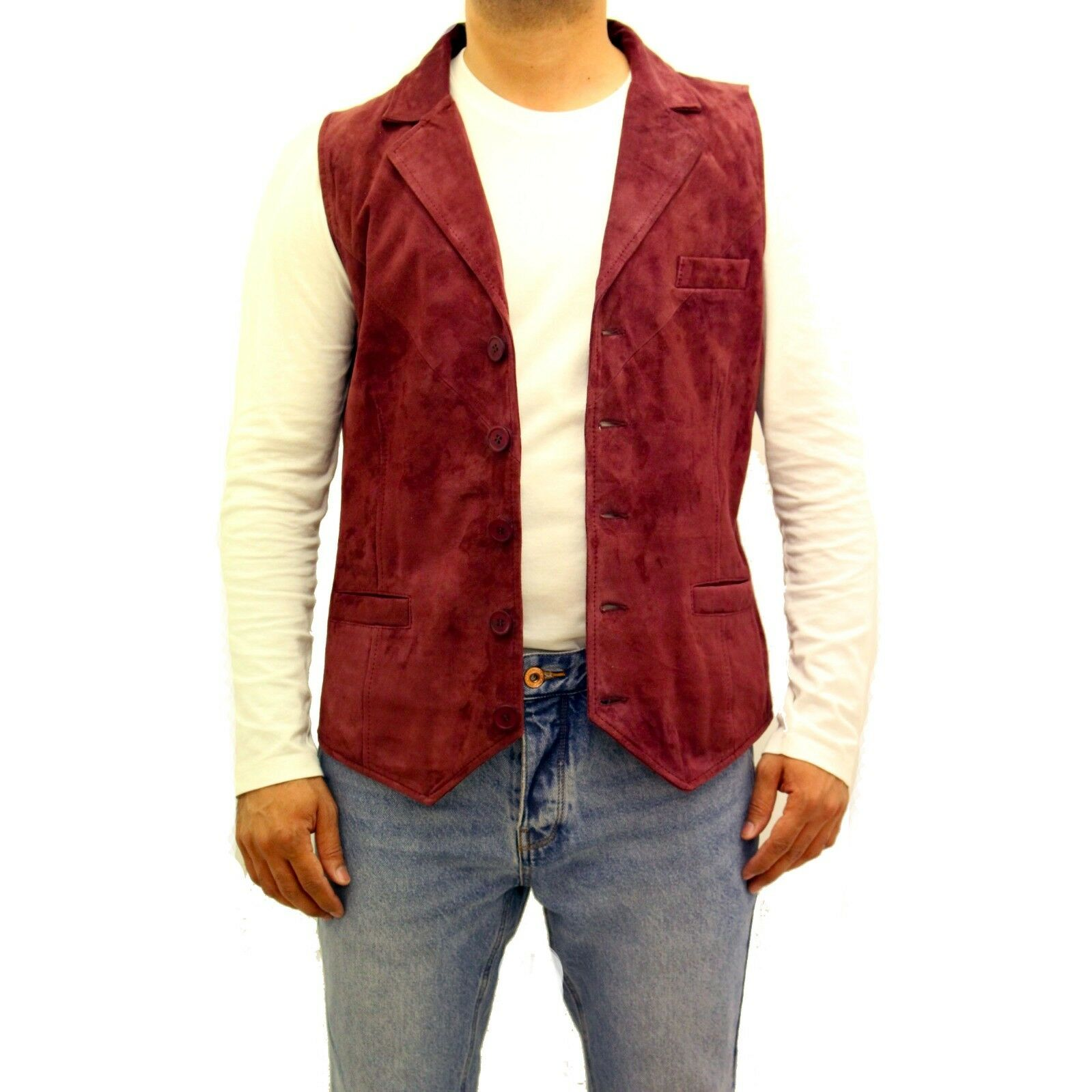Mens Burgundy Red Soft Suede Leather Five Button Fitted Blazer Style Waistcoat