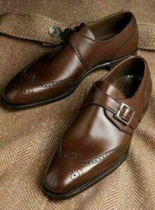 Handmade-Hommes-Marron-Bout-D-039-Aile-Richelieu-a-cuir-formelle-Single-Monk-Strap-Shoes-for-men
