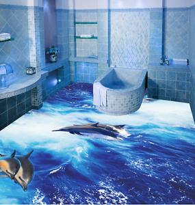 3D Moonlight Dolphin 854 Floor Wall Paper Murals Wall Print AJ WALLPAPER UK Lemo