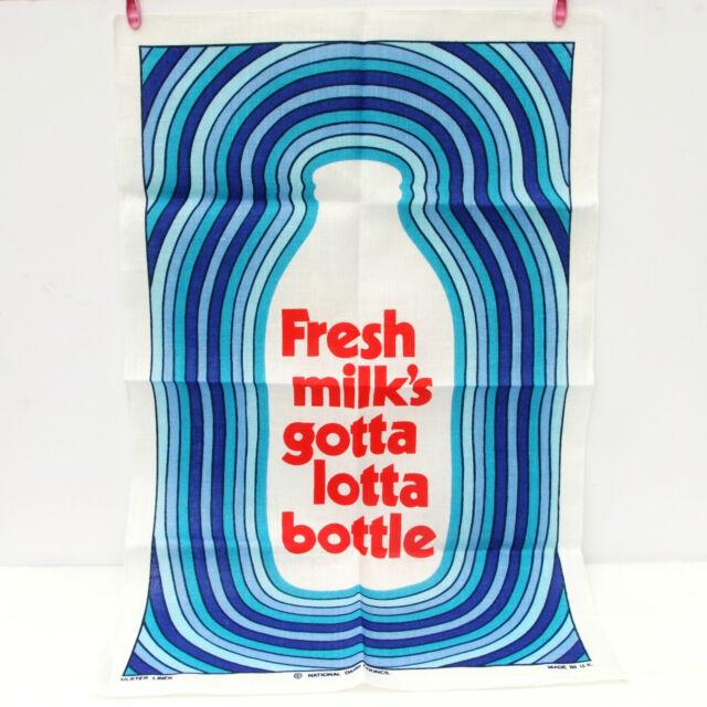 New Vintage Ulster Linen Dairy Council Milks Gotta Lotta Bottle Advert Tea Towel