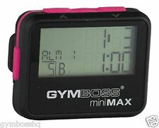 GYMBOSS miniMAX INTERVAL TIMER AND STOPWATCH BLACK PINK SOFTCOAT FROM GYMBOSS HQ