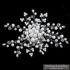 Bridal Flower Hair Comb Diamante Crystal Pearl Wedding Clip Slide Headband Prom