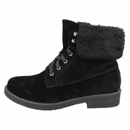 Details about  /Ladies Black//Brown Spot On Lace Up F50711 Zip Faux Fur Casual Ankle Boots