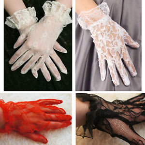 Victorian-Vintage-Womens-Lace-Wrist-Length-Gloves-w-Ruffle-Black-Pink-White-Red