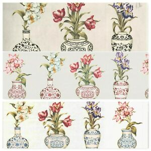 Extra Wide Chinese Vase Flower Wallpaper Border Ebay