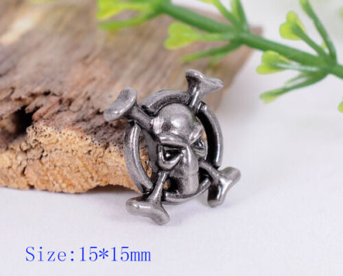 20X Retro Silver Biker Punk Metal Skull/&Bone Rapid Rivets Spike Studs Decor 5//8/""