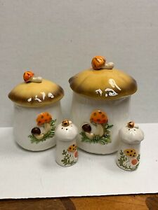 1970s-Vintage-Mushroom-Kitchen-Set-With-Sugar-Flour-Salt-And-Pepper-Holders