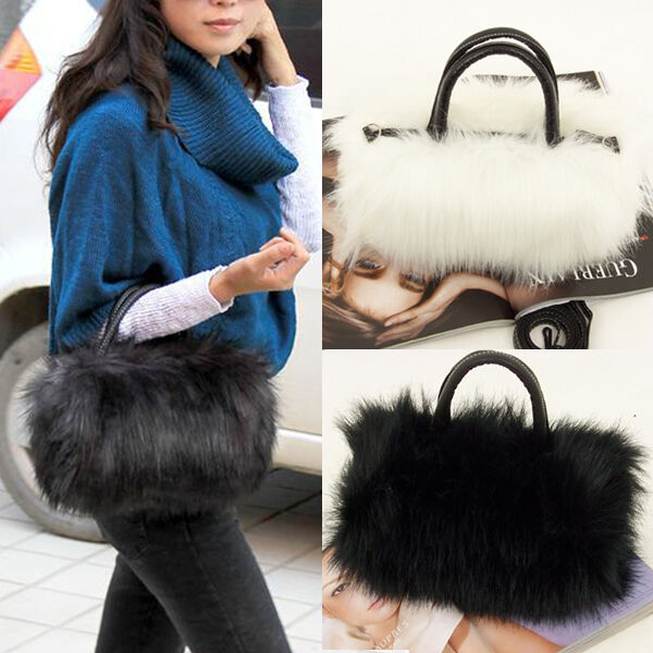 Girls Lady Fashion PU Leather Faux Fur Handbag Shoulder Bag