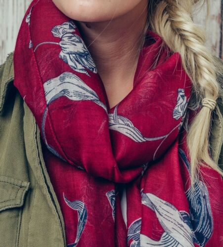 WOMENS LADIES LARGE TULIPS FLOWER RED PRINT DESIGN LARGE SOFT SCARF WRAP