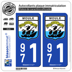 Armoiries97160 2 Blasons plaque immatriculation auto971 Le Moule