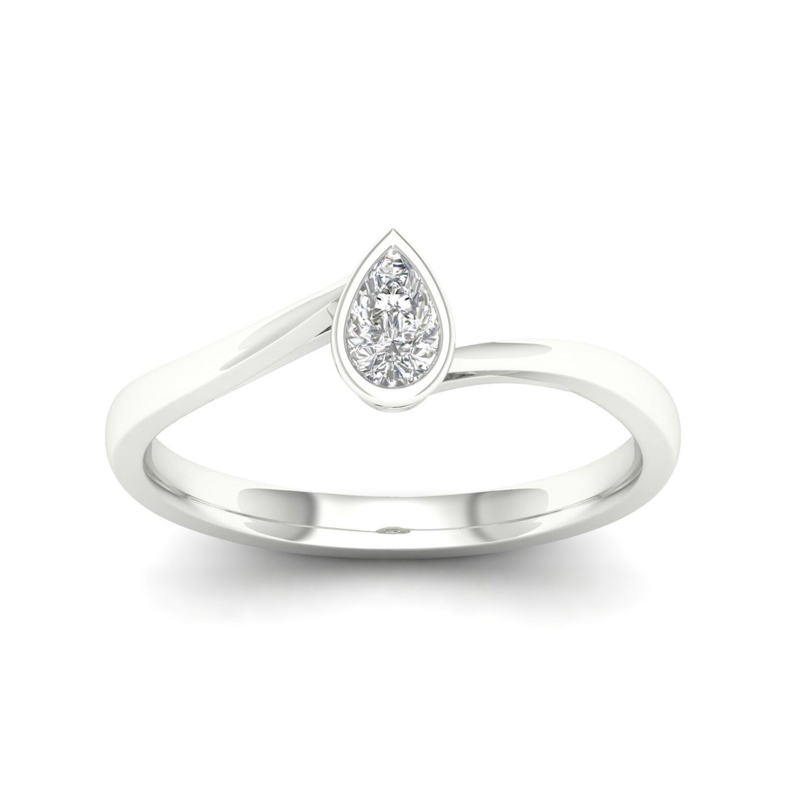 10k gold 0.20Ct TDW Pear Diamond Solitaire Promise Ring