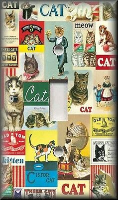 Light Switch Plate Cover - Vintage Ad Posters - Cats - Animal Home Decor