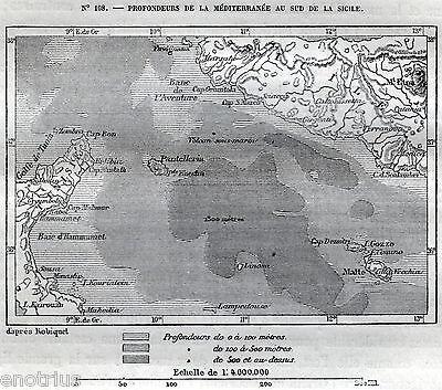 Cartina Di Malta Da Stampare.Cartina Canale Di Sicilia Malta Comino Gozo Lampedusa Linosa Pantelleria 1876 Ebay