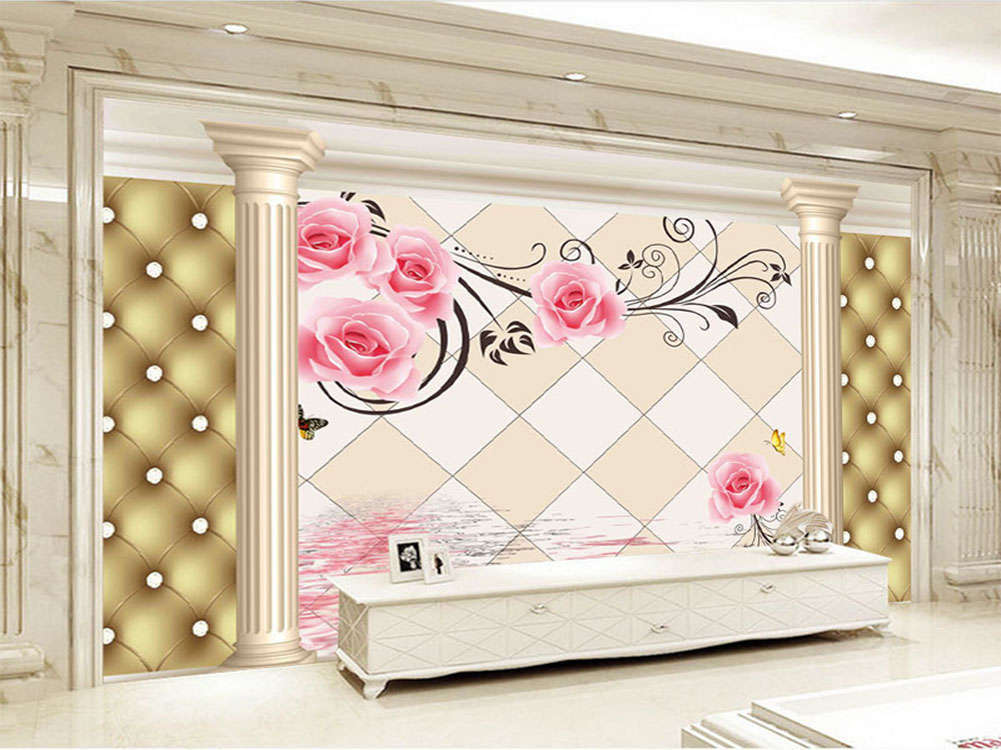 Noble Elegant Roses 3D Full Wall Mural Photo Wallpaper Printing Home Kids Deco