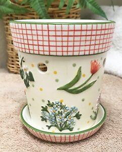 Yankee-Candle-Spring-Floral-Ceramic-Tart-Warmer-Was-Oil-Burner-EXC