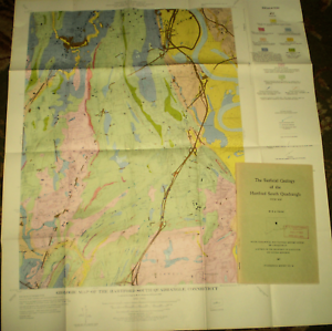 Details about GEOLOGY CONNECTICUT HARTFORD SOUTH QUADRANGLE REPORT WITH  LARGE FOLDING MAP NICE