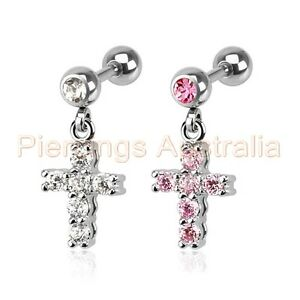 16G-CZ-Cross-Cartilage-Tragus-Bar-Dangle-Ear-Ring-Piercing-Stud-Body-Jewellery