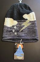 1717 Olive Black Purple Clouds Thunderbolt Rain Sky Knit Beanie Hat