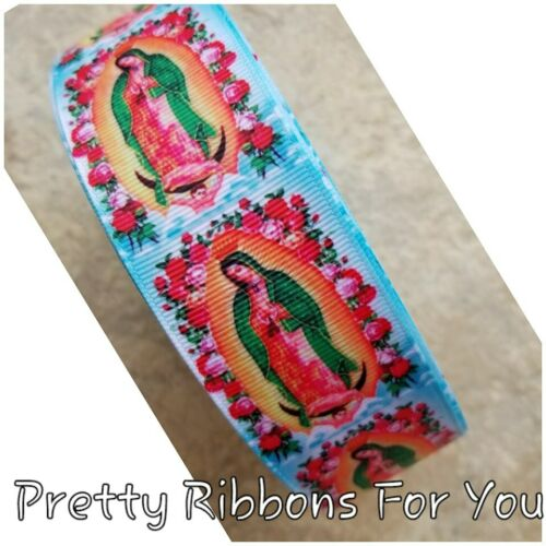 "La Virgen  1.5/"" wide grosgrain ribbon the listing is for 5 yards"