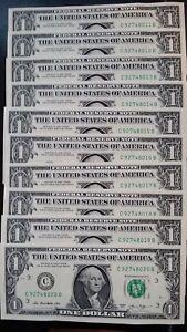 Coins & Paper Money Usa $1 Dollar 2013 Rosa Gumataotao Rios 'c' Philadelphia Run Of 10 Unc Banknotes Pure White And Translucent