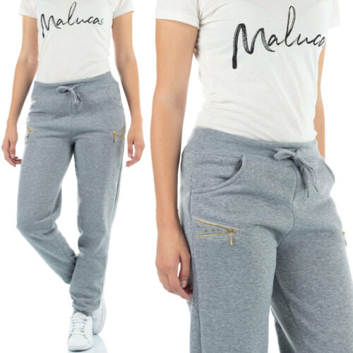 MALUCAS SPORTS Damen Jogginghose mit Strasssteinen Jogpants Laufhose Gym Yoga