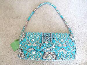 NWT-VERA-BRADLEY-PAISLEY-Turquoise-Tan-Hand-Bag-Purse-Shoulder-Bag-Clutch-NEW