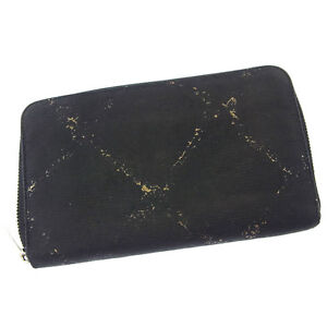 06a3d341846f Chanel Wallet Purse Long Wallet Black Silver Woman Authentic Used ...