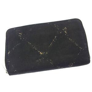 d797662d1667 Chanel Wallet Purse Long Wallet Black Silver Woman Authentic Used ...