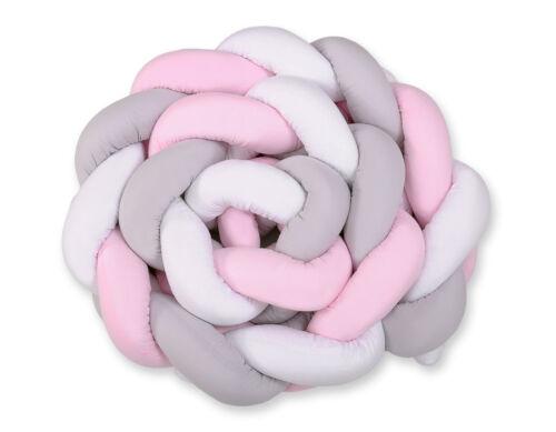 Kopfschutz für Kinderbett XXL Geflochtenes Nestchen weiss-grau-rosa