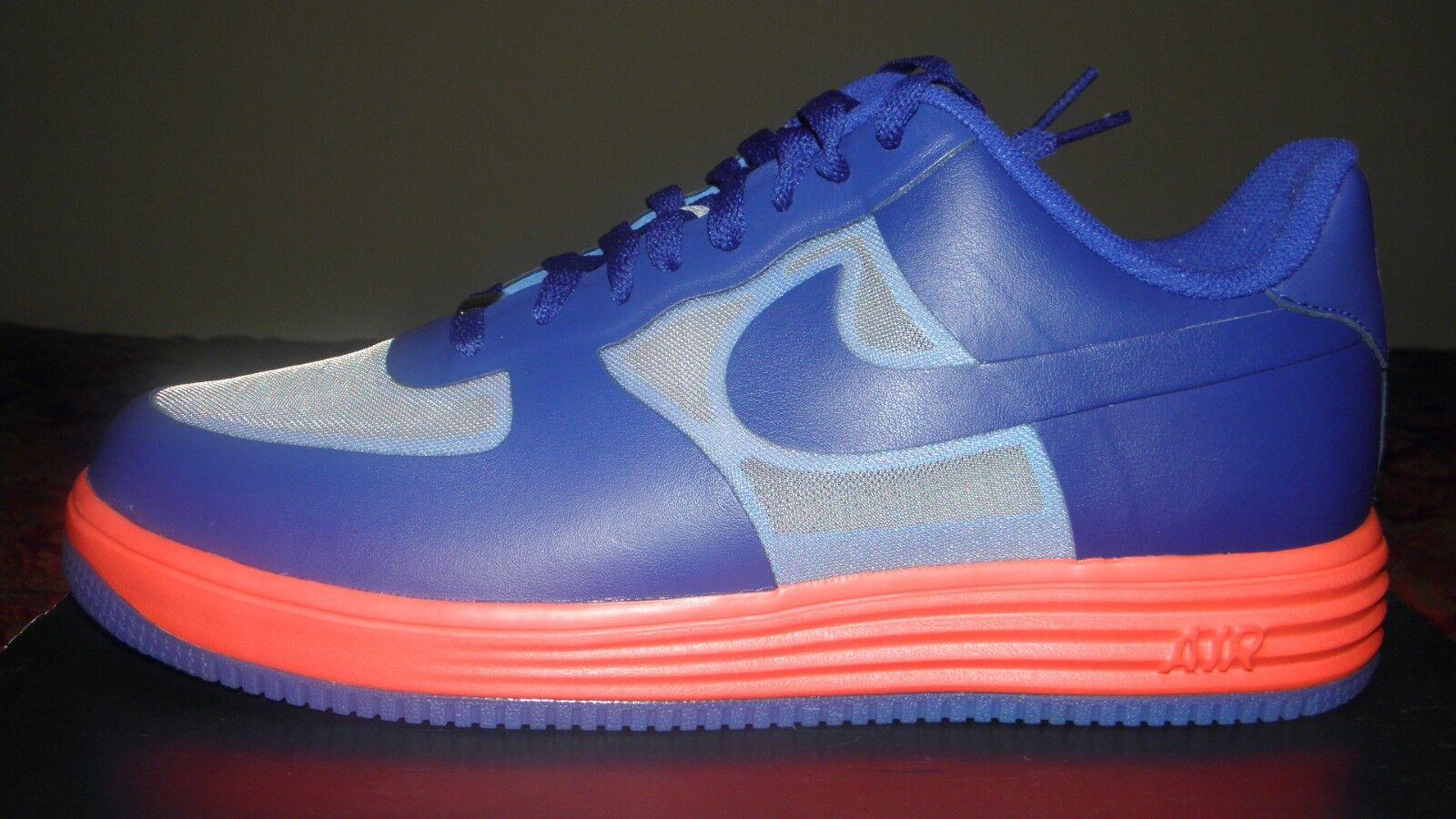 Brand New Nike Lunar Force 1 Fuse Lthr Size 12 Grey/Blue-Red 599839 001