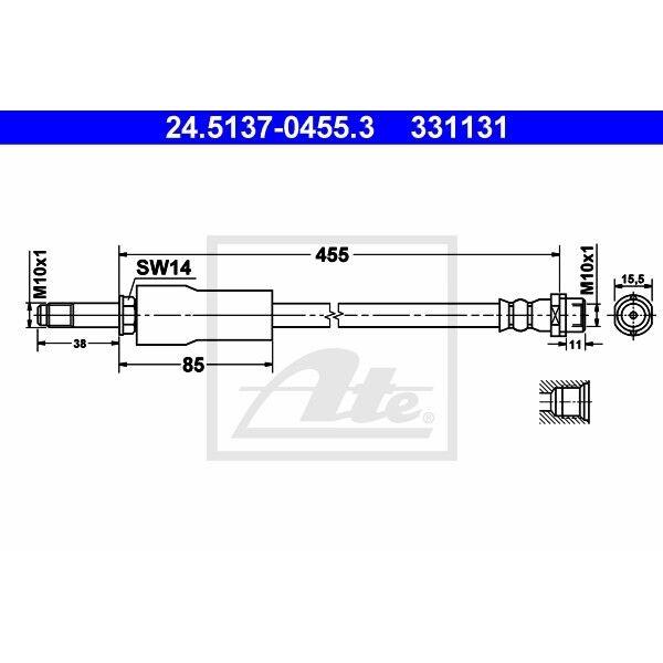 Bremsschlauch Bremsleitung ATE 24.5113-0423.3