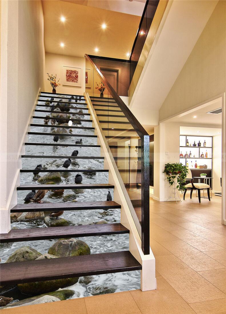 3D Vogel Fluss 3366 Stair Risers Dekoration Fototapete Vinyl Aufkleber Tapete DE