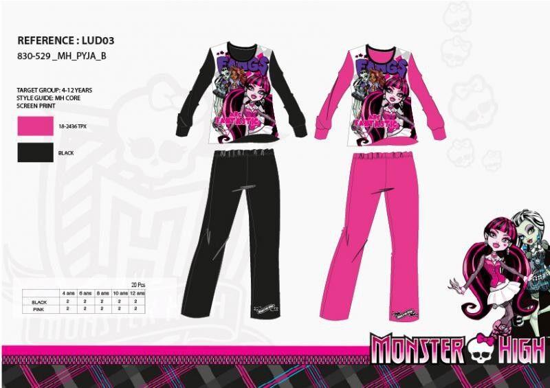 12 Jahre Schwarz Schlafanzug Lang Monster High 100% Baumwolle Neu Die Einheit