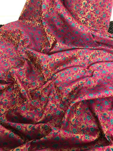 "1 MTR HOT PINK//TEAL//GOLD BIRD PRINT BROCADE FABRIC 45"" SPECIAL OFFER £3.99"