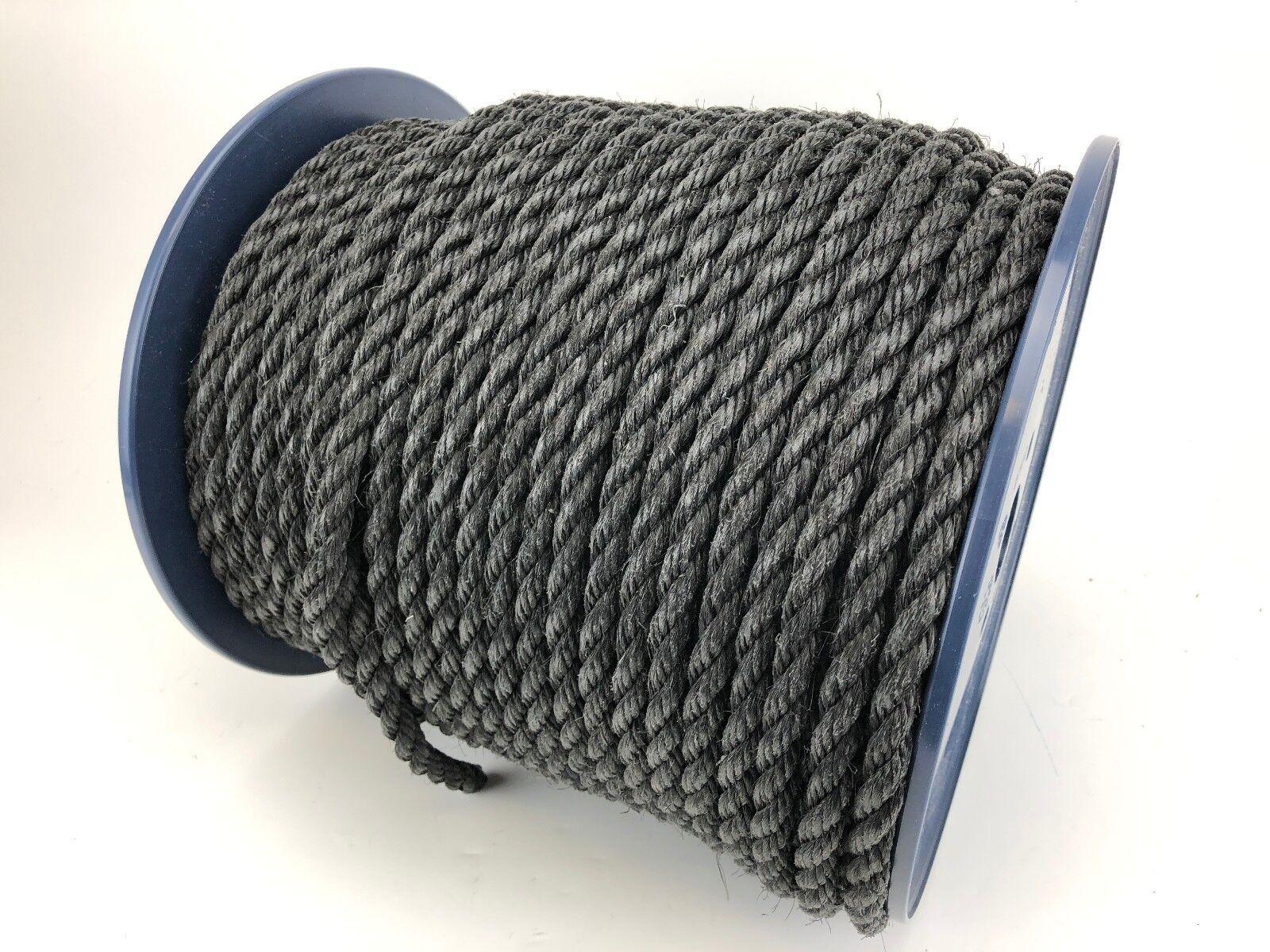 16mm schwarz Gesponnenes Seil X 75 Meter Rolle Anker Liegeplatz Baugerüst